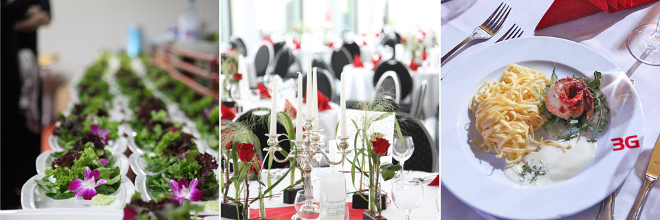 Dekoration und Essen auf Events im 3G Kompetenzzentrum